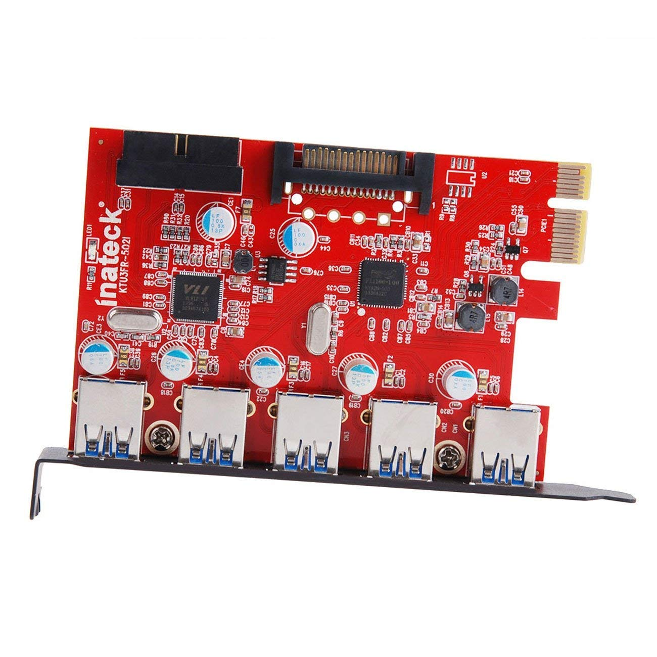 Inateck PCI-E to USB 3.0 (5 Ports) PCI Express Card and 15-Pin Power Connector, Red (KT5001) by Inateck (Image #3)