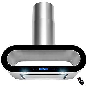 "AKDY 36"" Wall Mount Stainless Steel Black Trim Touch Panel Kitchen Range Hood Cooking Fan w/ Remote"