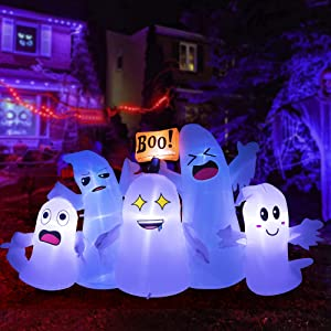 HOOJO 8FT Five Little Halloween Inflatable Ghosts Decorations with Build in LED Lights, Outdoor Halloween Blow up Yard Decorations for Lawn Garden