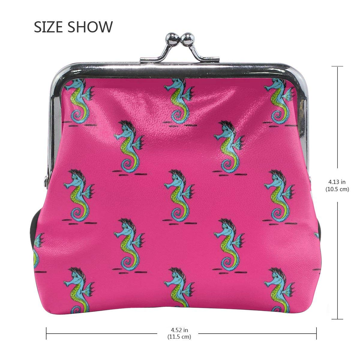 Quirky Seahorse Pattern Cute Buckle Coin Purses Buckle Buckle Change Purse Wallets
