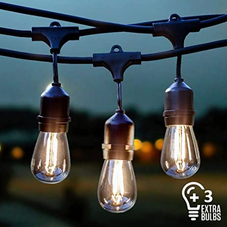Charming Vintage Outdoor String Lights Kit, 2W S14 LED Filament Bulbs Included, 48Ft  Long Garden