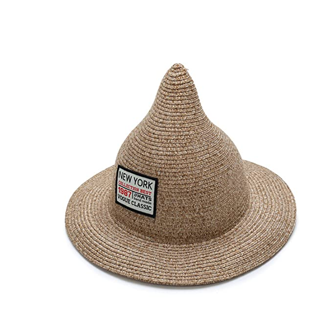 Amazon.com: JIANGTAOLANG Women Sun Hat Linen Straw Sea Beach Steeple Top Unique Summer Hats Gorras Girl Cap Sun Hat Black (7363042195831): Books