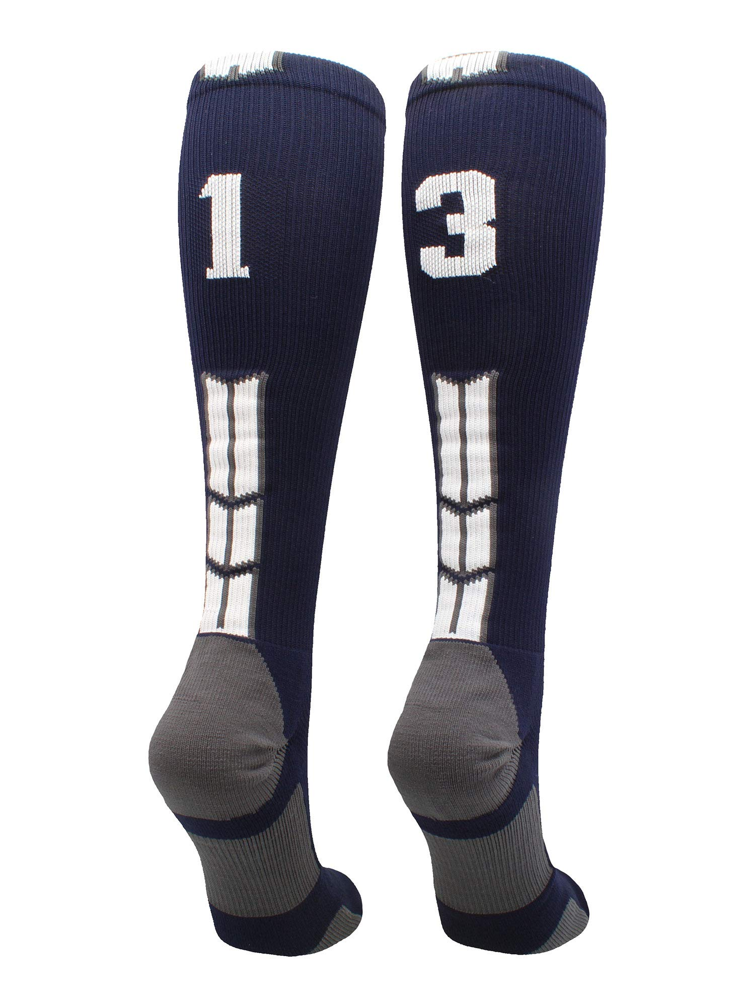 MadSportsStuff Navy/White Player Id Over The Calf Number Socks (#13, Large)