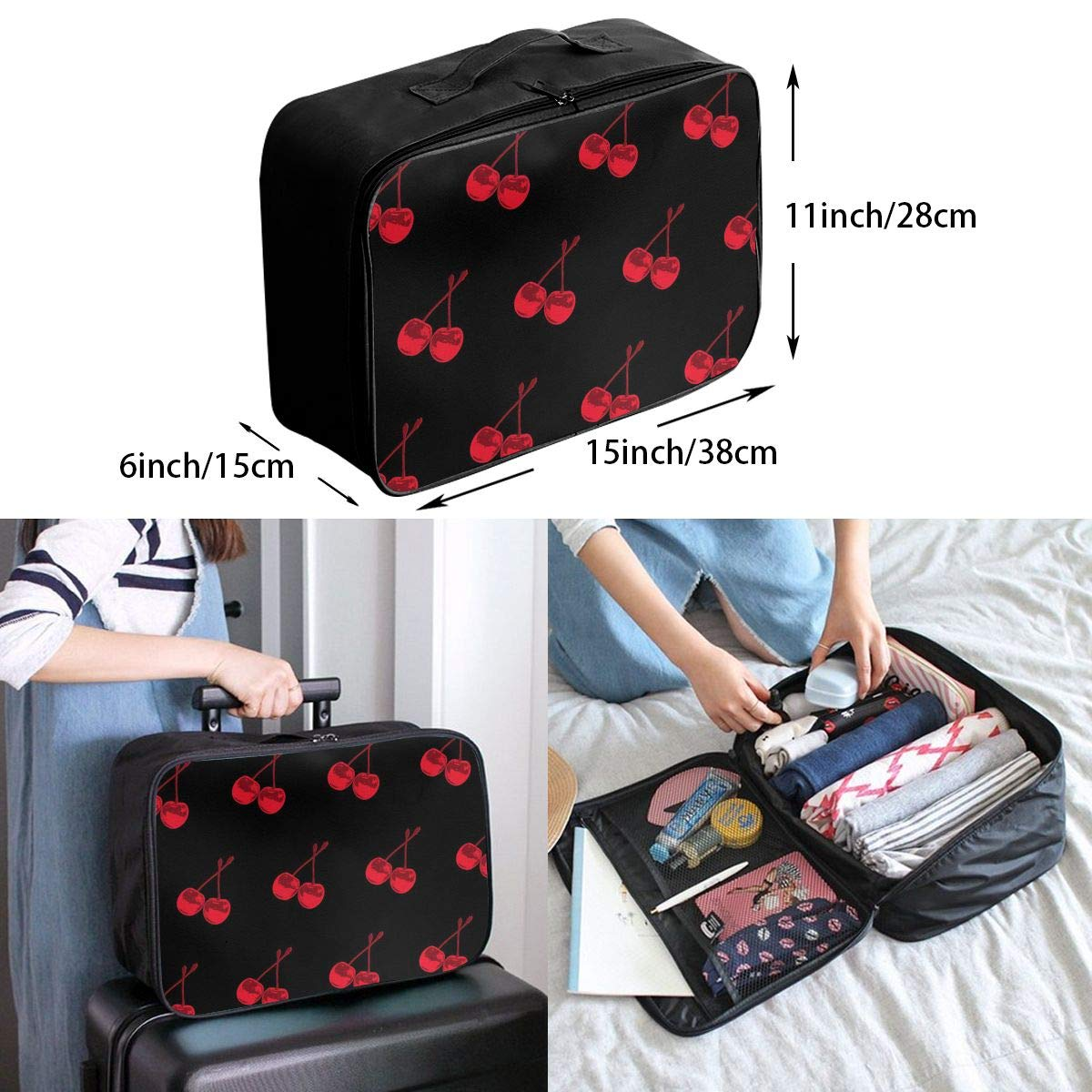 Travel Luggage Duffle Bag Lightweight Portable Handbag Cherry Pattern Large Capacity Waterproof Foldable Storage Tote