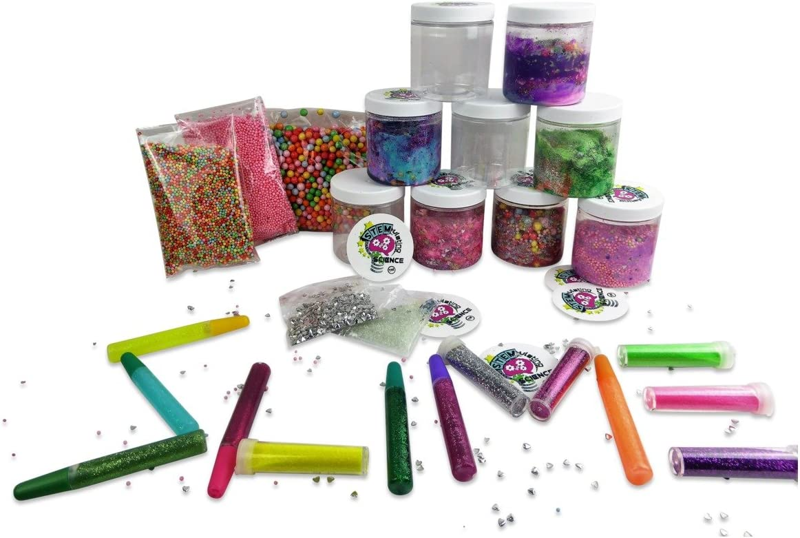 Paquete de 30 tarros de almacenamiento Slime de 236 ml, incluye bolas de espuma finas, cuentas delgadas, 13 purpurinas delgadas en una caja organizadora con recetas de bricolaje Slime: Amazon.es: Juguetes y juegos