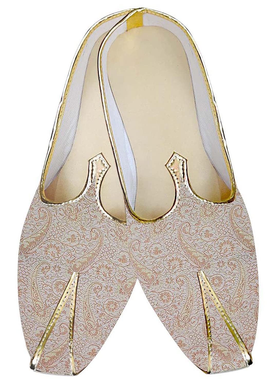 INMONARCH Hombres Zapatos de Boda de Marfil Patrón Paisley MJ03163 48.5 EU