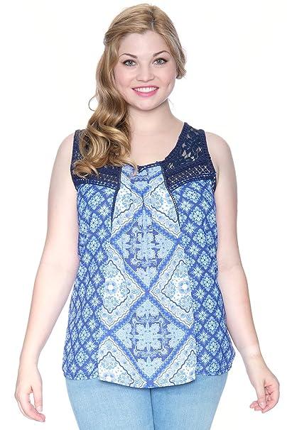 60c9912d3c5 Grayson Shop Plus Size Floral Lace Panel Swing Top at Amazon Women's ...
