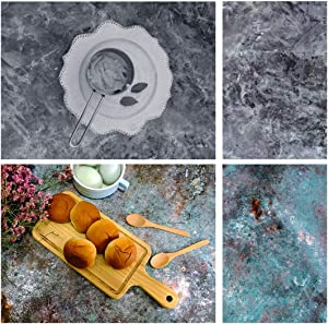 KinGrow 34.2 x 22.4 Inch Double Sided Flat Lay Food Photography Backdrops Background Paper 2 in 1 Texture Pattern Waterproof for Jewelry Cosmetics Makeup Small Product Props Professional Photo Studio