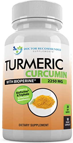 Turmeric Curcumin – 2250mg d – 95 Curcuminoids – 90 Veggie Caps with Black Pepper Extract Bioperine – 750mg Capsules – Most Powerful Turmeric Supplement with Triphala