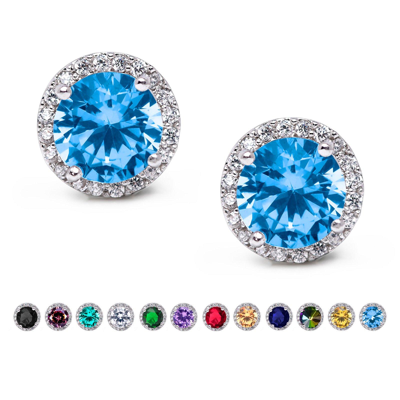 SWEETV Cubic Zirconia Stud Earrings, 10mm Round Cut, Rhinestone Hypoallergenic Earrings for Women & Girls, Lake Blue