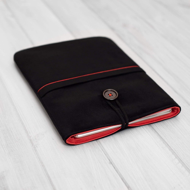Étui à manches ipad en velours noir super doux avec poche et bouton