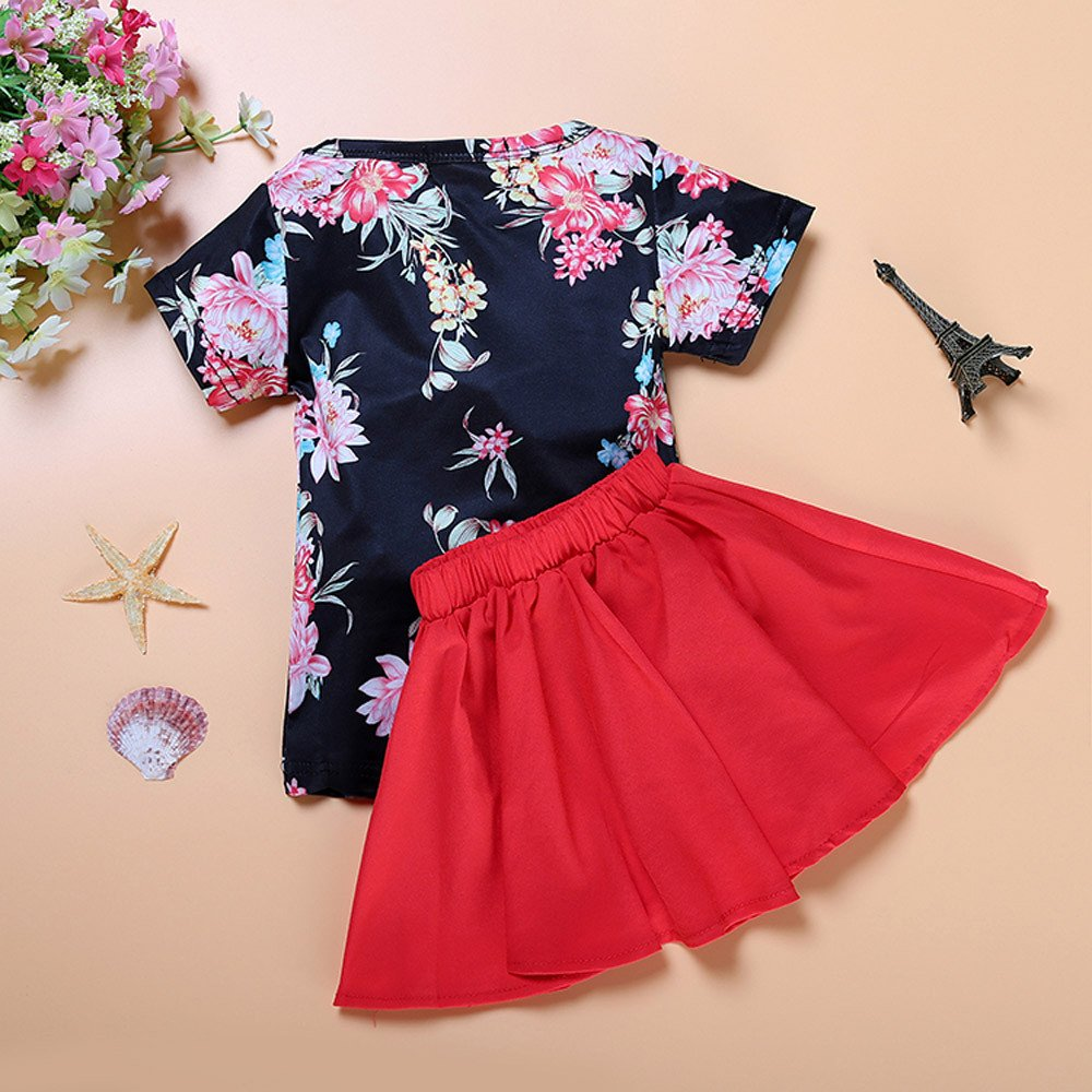 91cf62b2f0e Amazon.com  Floral Sundress for 2~6 Year Old Baby Girl Dress Short Sleeve  Tees T-Shirt+Red Skirt Outfits Set  Clothing