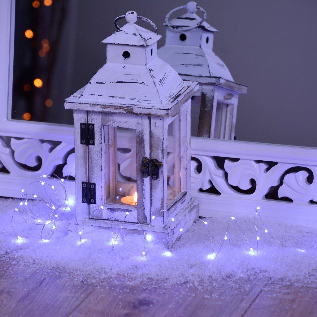 Micro LED Lichterkette mit Timer kaltweiß auf Silber-Draht ...
