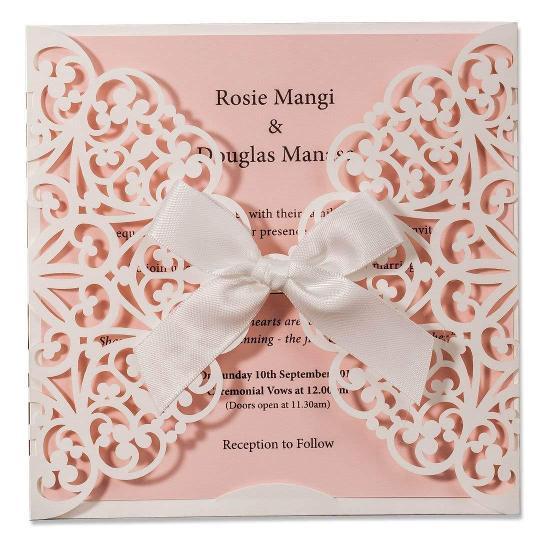 WISHMADE 20X Inviti di nozze con taglio laser Carte bianche e rosa con fiocco Manica in pizzo per fidanzamento Baby Shower Compleanno Quinceanera Set di 20 pezzi