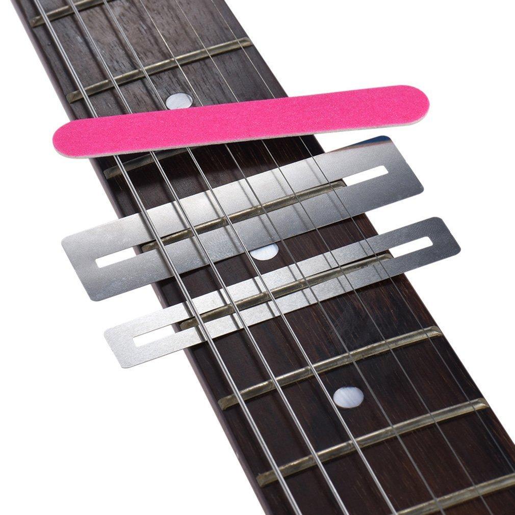 Jeu doutils de r/éparation de frettes de Guitare Garde de Manche Protective Shim /& Fretwire File Silver
