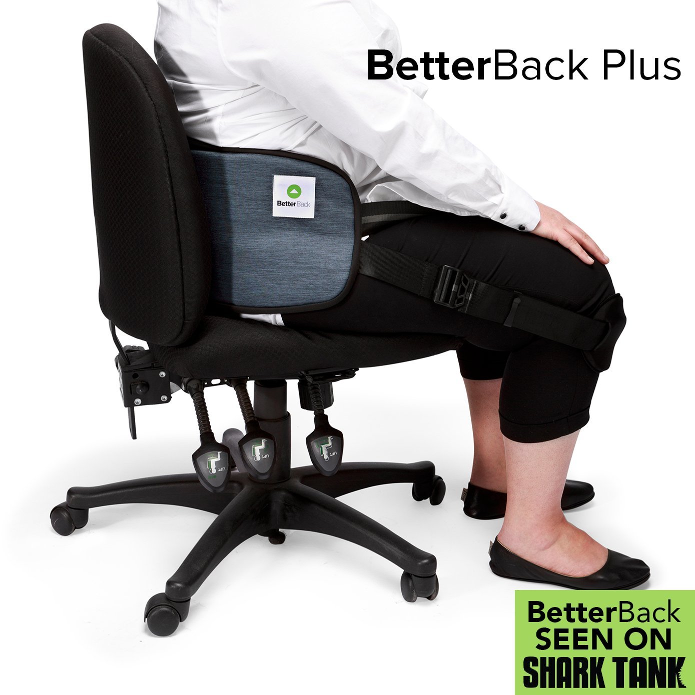 BetterBack Plus - Ease Back Pain & Effortlessly Sit in Perfect Posture - with NASA Memory Foam Padding - Make Every Chair Ergonomic - Fits Women and Men with 37-55'' Waist