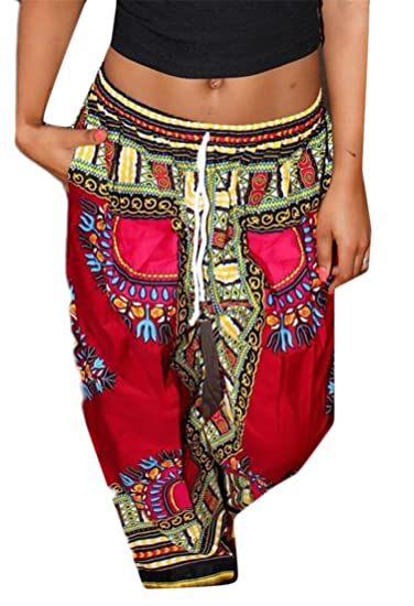 2d979c644de Cromoncent Women s Loose Drawstring Dashiki Wide-Leg Pants Africa Print  Trousers at Amazon Women s Clothing store