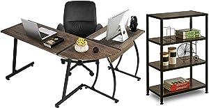 GreenForest L-Shaped Corner Desk with Bookshelf Gaming Computer PC Writing Workstation for Home Office,Dark Walnut