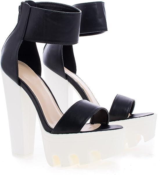 5e73e0fa1957 Wild Diva Vive-04 Peep Toe Dress Chunky Lug Platform Thick Heel Ankle Strap  Sandal
