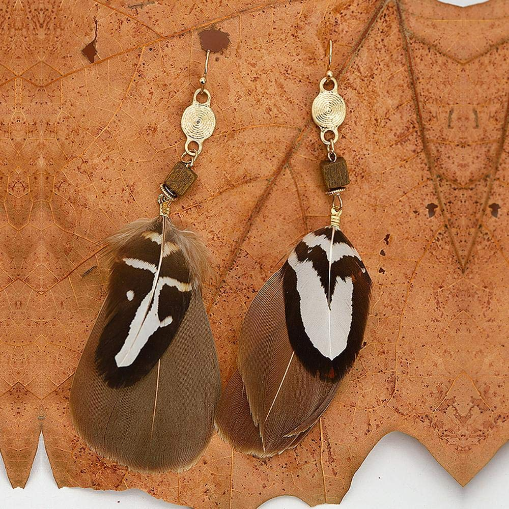 Ludage Earrings, Alloy Earrings 95mm Fashion European and American Dark Line Pendant Feather Earrings