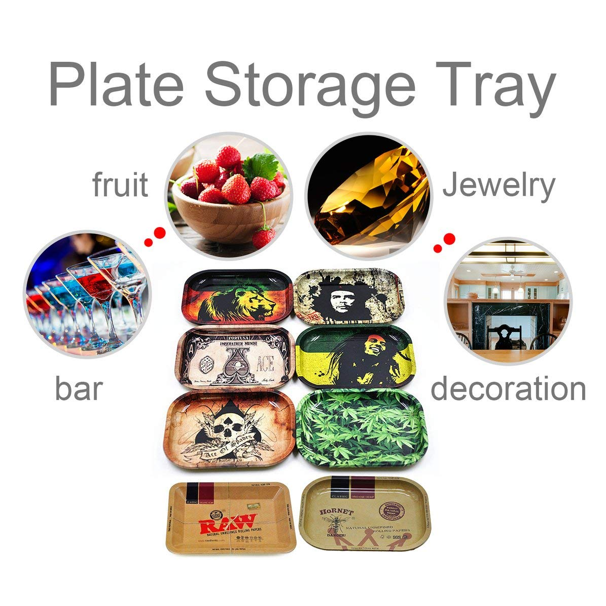 Rectangle Plate Storage Tray 180x140x15mm Rolling Trays Decorative Dish Snack Dried Fruit Storage Organizer