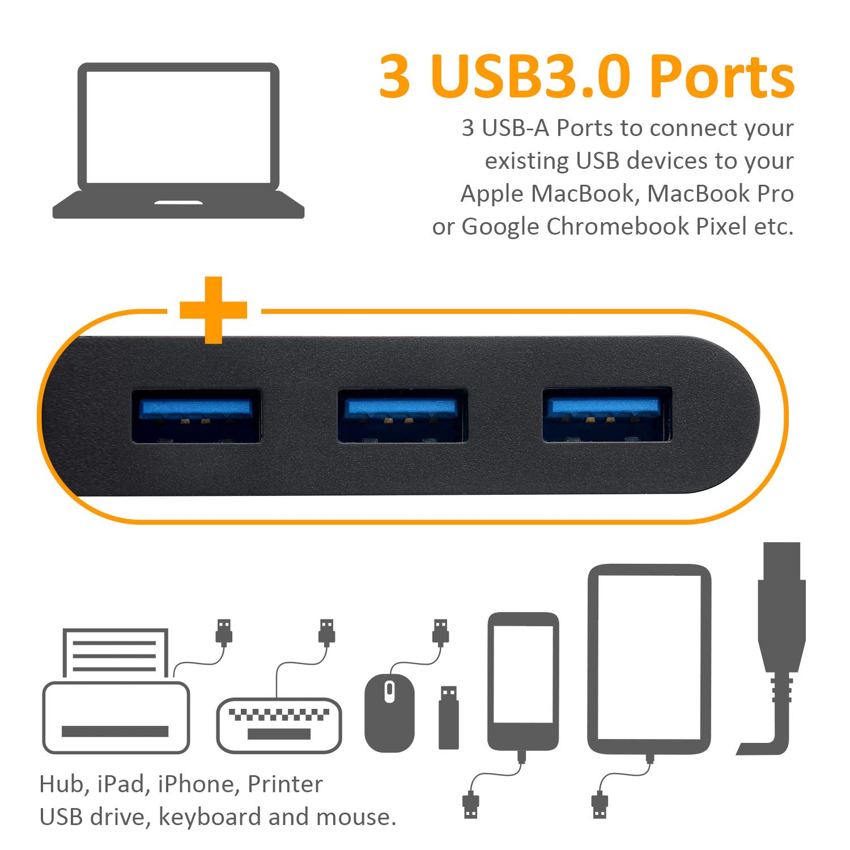 UHD 4K HDMI JYDMIX USB-C VGA HDMI Hub ChromeBook Pixel,Samsung e altro Dock USB C con USB-C de Carga 100W Ethernet 1000Mbps y USB3.0 para MacBook Pro VGA Full HD