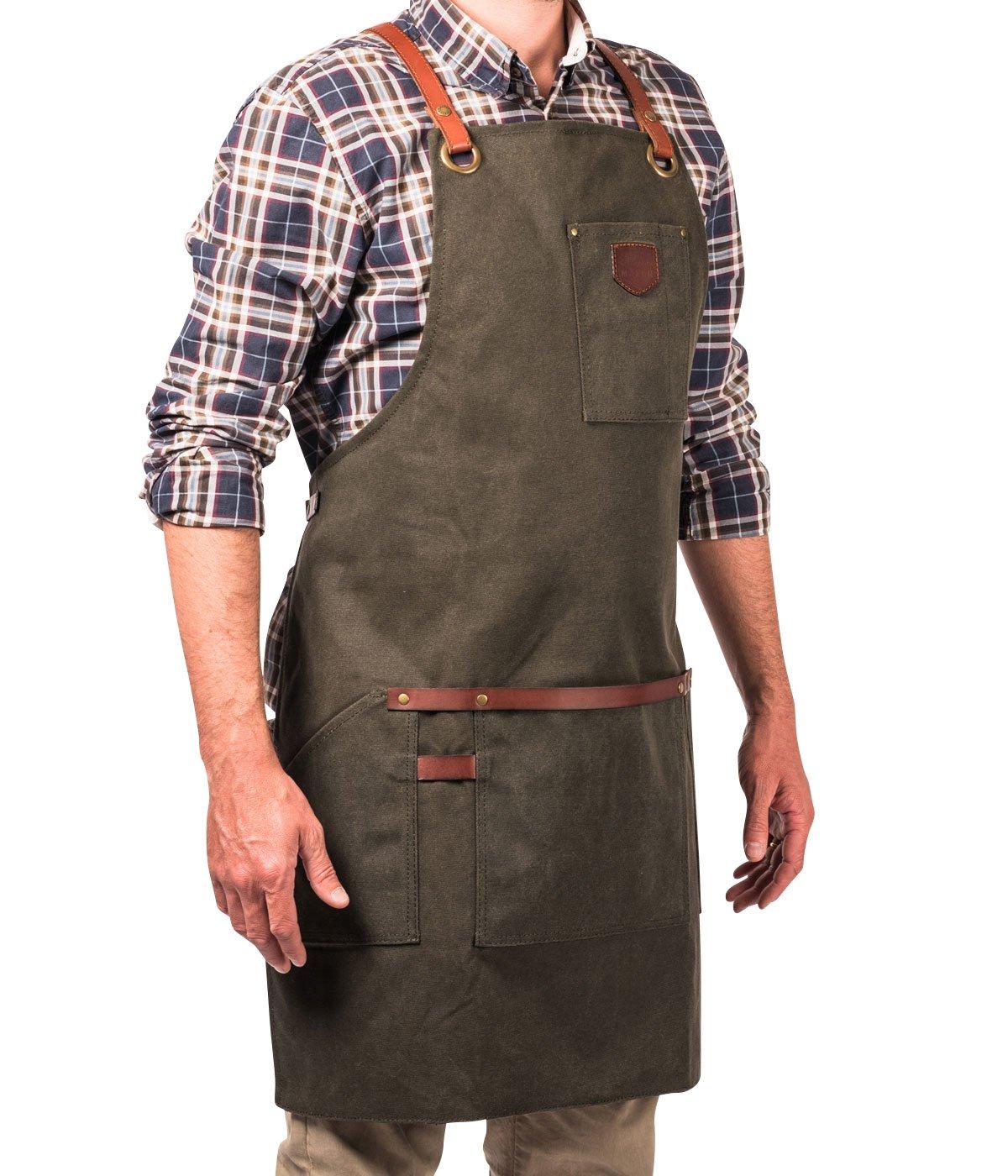 Alaskan MAKER Tablier Homme en Toile enduite et Cuir Multipoche N/°547 Bordeaux Bretelles Crois/ées Taille Universelle