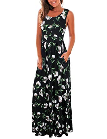 78d28a37095 HNNATTA Women Summer Sleeveless Floral Printed Long Maxi Causal ...