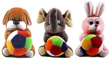 Blue Tree Rabbit,Dog,Elephant Character Soft Stuffed Toys Pen Stand (Set of 3,Multicolour)