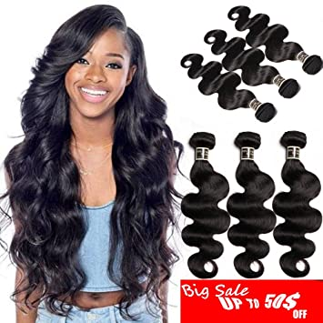 Human Hair 4 Bundles Weaves With Closure Peruvian Body Wave Hair Bundles With Lace Closure Non Remy Royal Hair Weave Professional Design Hair Extensions & Wigs
