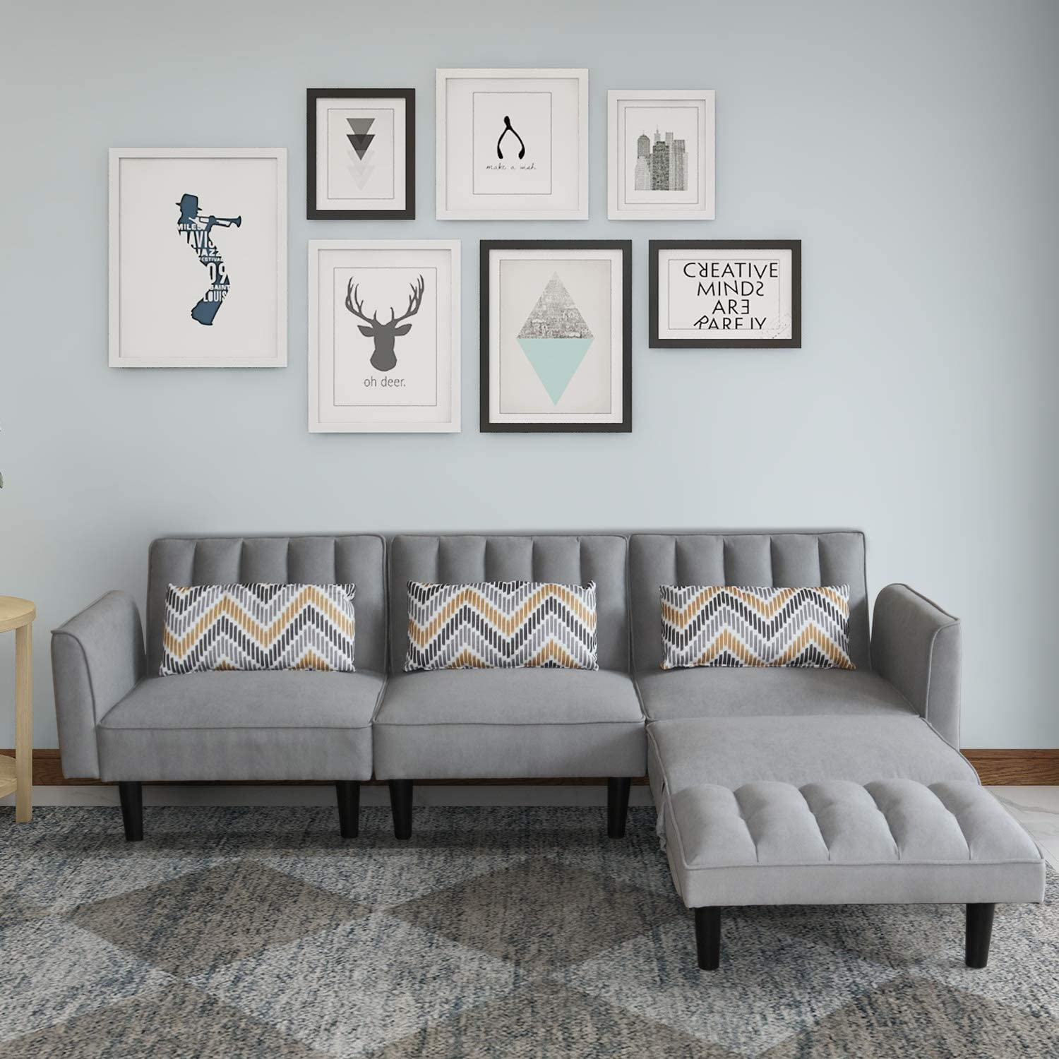 Modern Sectional Sofa with Pillows Linen Fabric Couch with Armrest 3-seat Sofas for Living Room Office Sofa Bed with Adjustable Back Three-Seater, Dark Grey