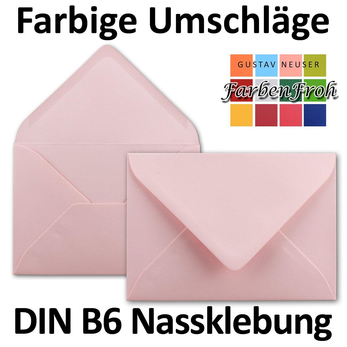 dimensioni/175 x 125/mm formato B6 chiusura adesiva da inumidire 50 Umschl/äge Rosa Neuser Buste da lettere da 80 g//m/² in colori vivaci