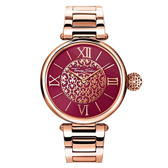 Thomas Sabo Reloj para mujer Karma Oro rosado WA0306-265-212-38 mm: Amazon.es: Relojes
