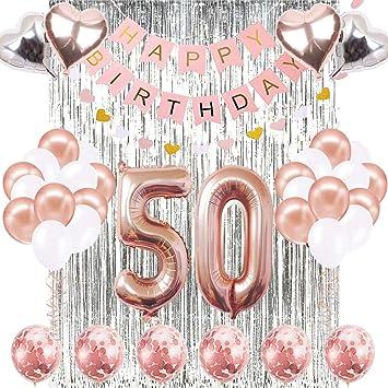 Amazon.com: Globo de 50 cumpleaños decorativo, con el número ...