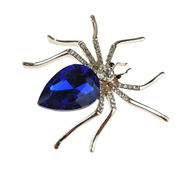 Glamour Girlz Ladies Gold Tone 5cm Diamante Spider Brooch Blue and Red (Black) XG6aY3QQ