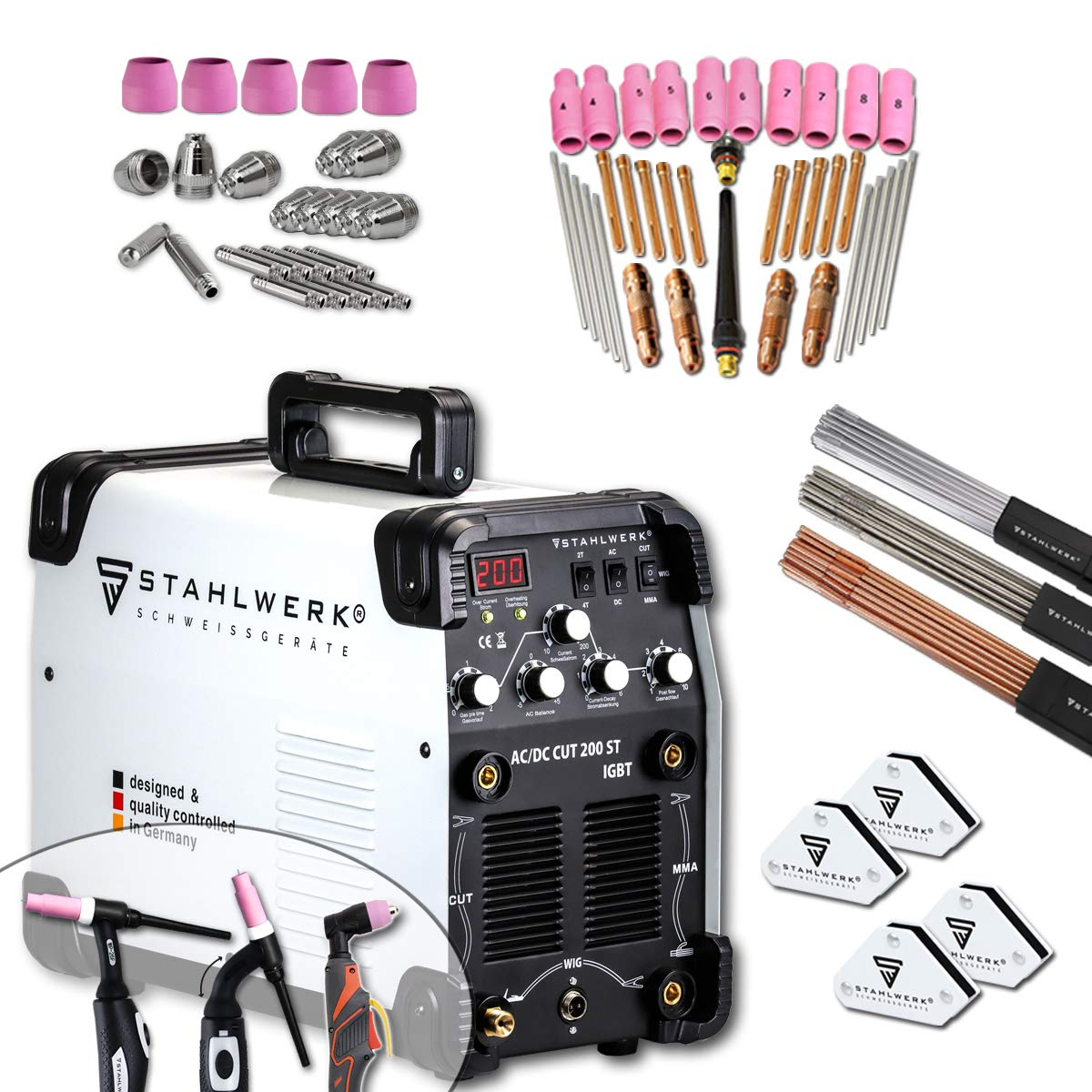 Keramikkappen f/ür WSD-200 CUT Plasmaschneider-Brenner Elektroden Plasmad/üsen STAHLWERK WSD-200 Plasmazubeh/ör Verschlei/ßteile Set 25-teilig