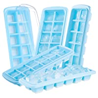 Ice Cube Trays, 5 Pack Silicone Ice Cube Tray with Lids Easy Release LFGB Certification Blue By Jelife