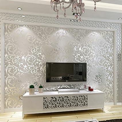 European Textured Wallpaper, Modern Flower Embossed Wallpaper Roll 10M High  Quality Non-woven Flocking Bronzing Wallpaper Paste the Wall for Living ...