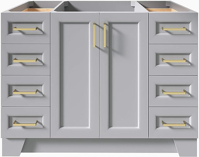 Amazon Com Ariel 48 Inch Gray Bathroom Vanity Base 2 Soft Closing Doors 9 Full Extension Dovetail Drawer Toe Kick Kitchen Dining