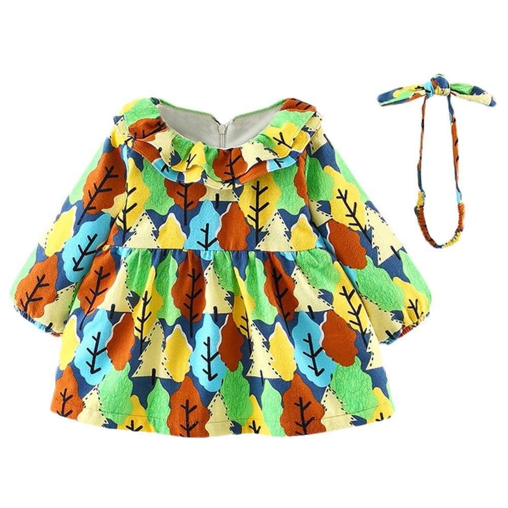 Toddler Baby Girls Long Sleeves Tree Print Lace Princess Dress+Headband+Bag Set