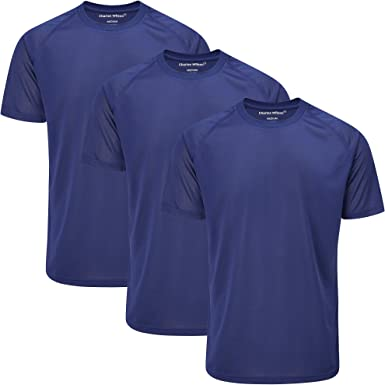 Charles Wilson Camisetas de Entrenamiento Deportivo de Poliéster Paquete de 3 para Hombre