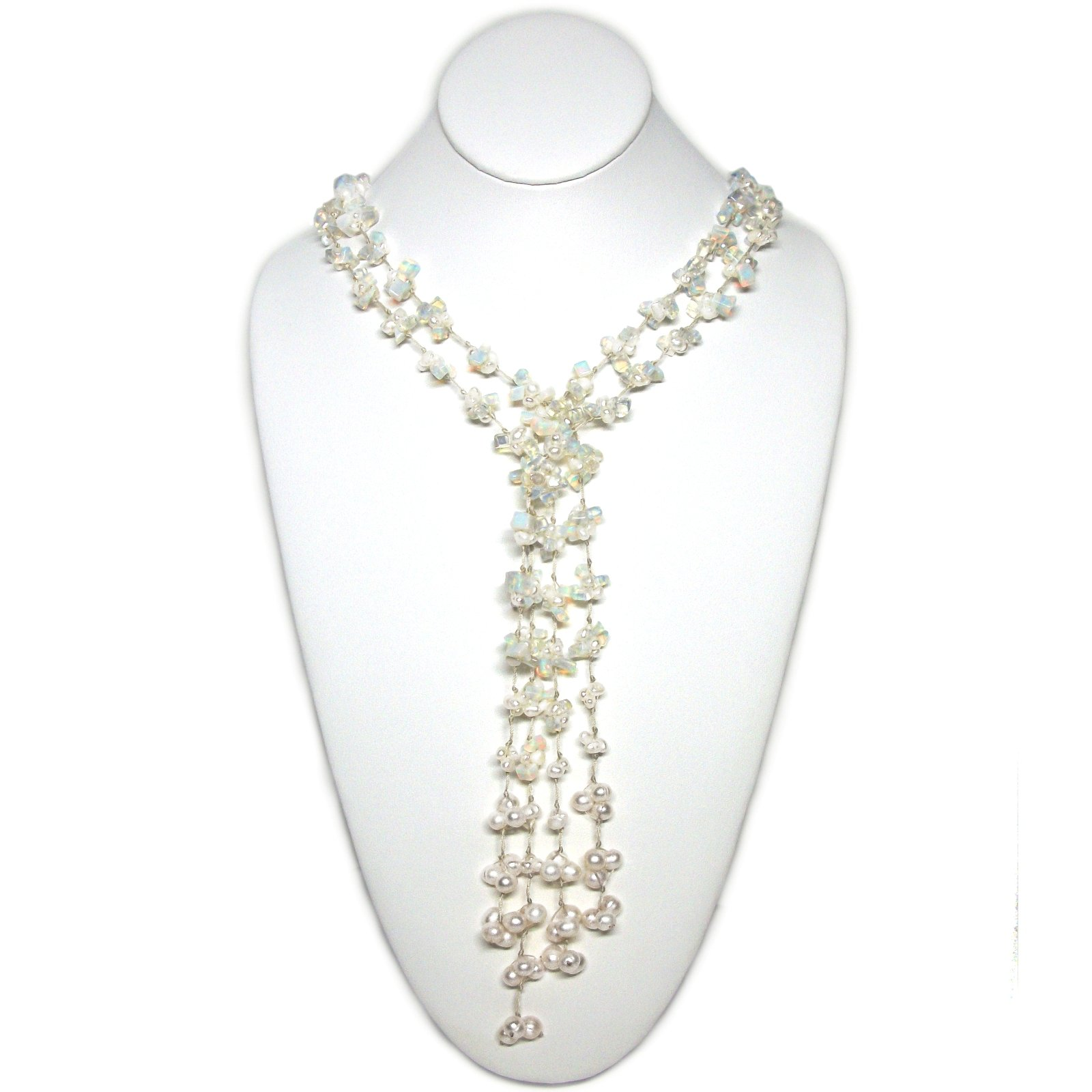 HinsonGayle 'Opal' Handcrafted 2-Strand Opalite & Genuine Freshwater Cultured Pearl Lariat Necklace-42 in length