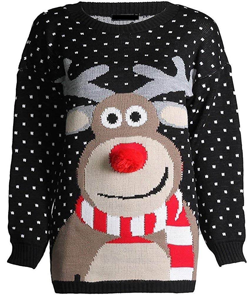 noir 9-10 Years Prettymake Unisex Enfants Girls garçons Beautiful Rudolph 3D Nose Pom Pom Ugly Christmas Jumper