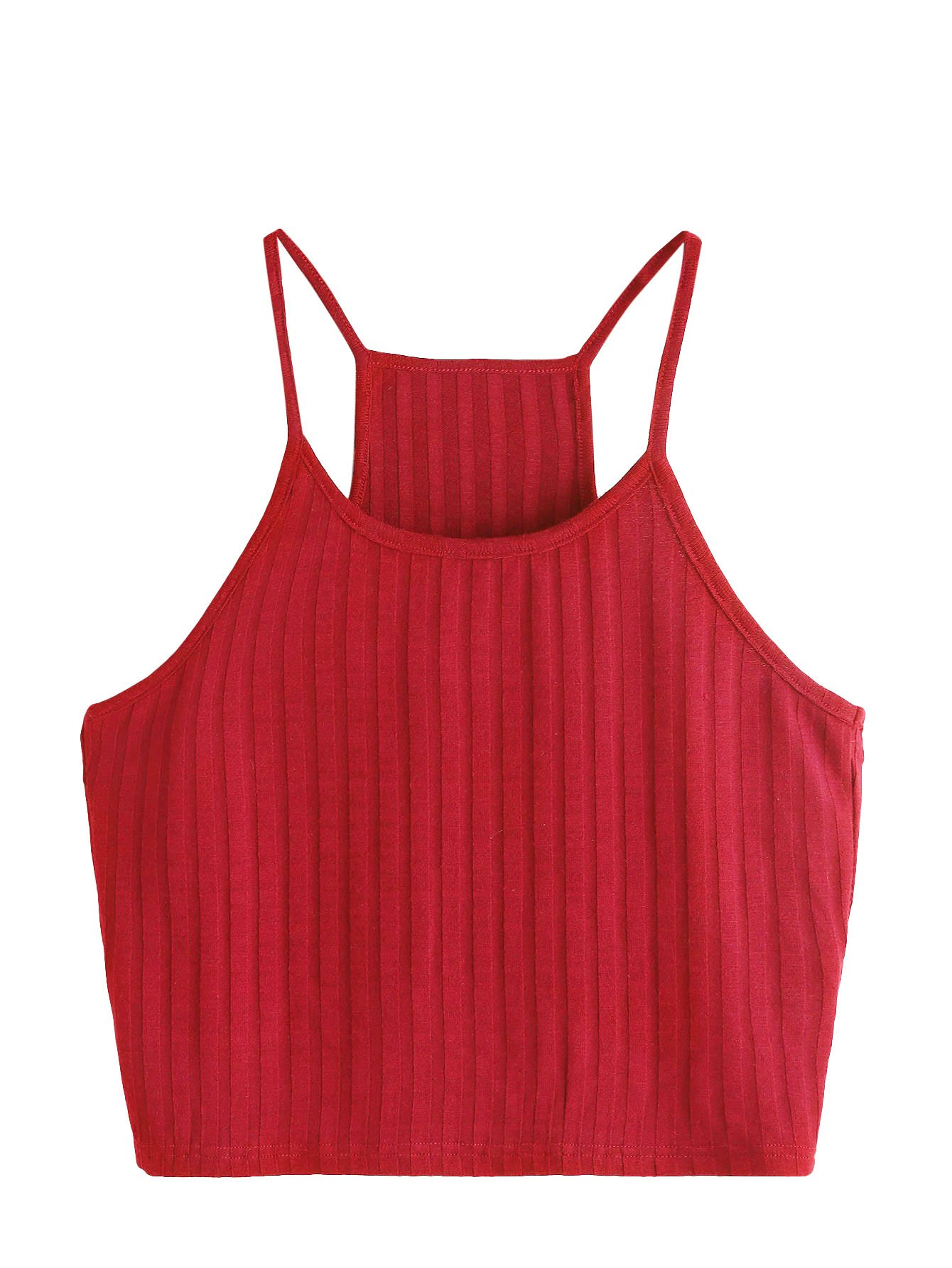 SheIn Women's Summer Basic Sexy Strappy Sleeveless Racerback Crop Top Small Red