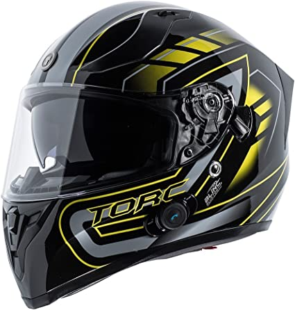 Torc Mako T-14 Gloss Black Dual Visor Full Face Bluetooth Race Motorcycle Helmet