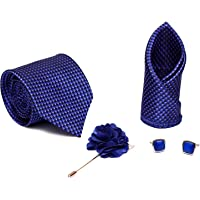 Axlon Men Formal/Casual Jacquard Neck Tie Pocket Square Accessory Gift Set with Cufflinks and Lapel Pin - Navy Blue (Free Size)