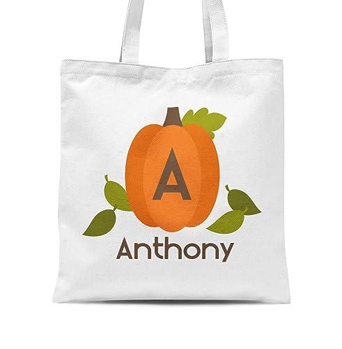 halloween tote bag monogram pumpkin personalized name trick or treat tote bag