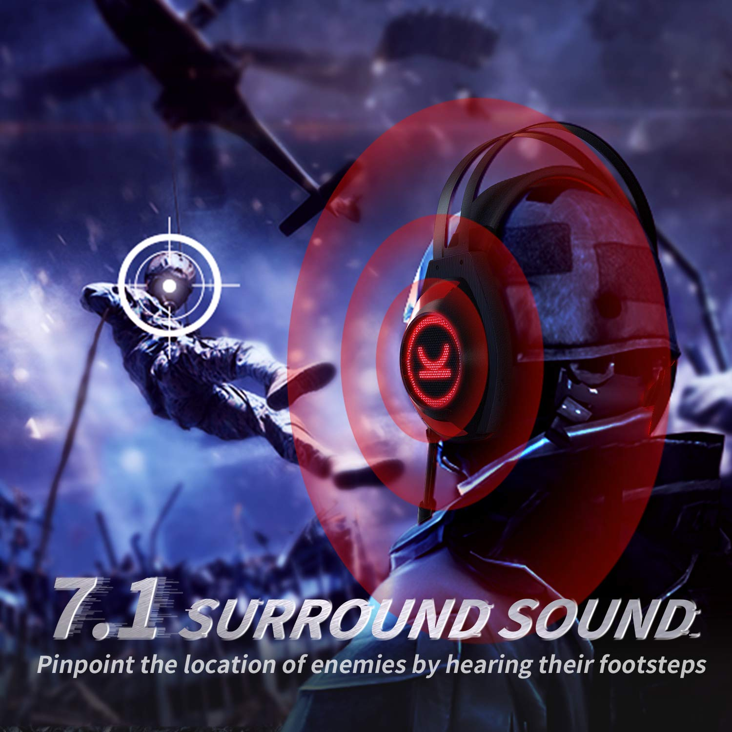 VANKYO Gaming Headset CM7000 Pro PS4 Headset with 7.1 Surround Sound Stereo Xbox One Headset, Gaming Headphones with Noise Canceling Mic Memory Foam Ear Pads for PC, PS4, Xbox One, Nintendo Switch