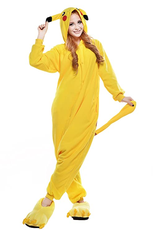 Amazon.com: JINGCHENG Unisex Adult Pajamas Cosplay Cartoon Animal Costume (Medium, Pikachu): Clothing