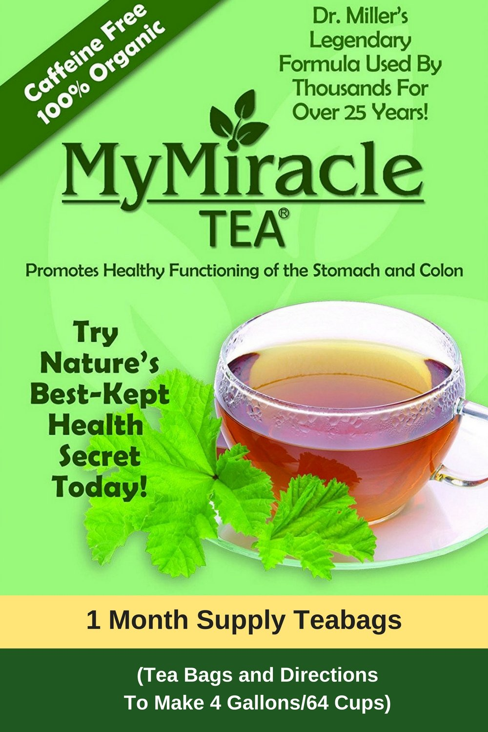 Dr. Miller's Holy Tea   My Miracle Tea Constipation Relief and Detox Tea (1 Month Supply Teabags)